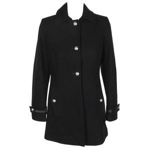 Nautica Black Wool-Blend Button-Front Peacoat L